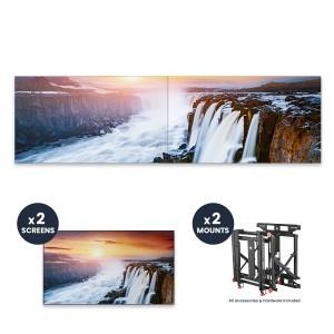 "Samsung VH55R-R + DSVW775-QR 1x2 KIT | 55"" VHR-R Series Ultra-Narrow .88mm BtB 700 nit Videowall Display with Peerless Full Service Mount"