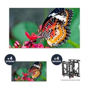 "NEC UN492S + DS-VW775-QR 2x2 Kit   49"" Ultra-Narrow Bezel Professional-Grade Display with Peerless Full Service Mount"