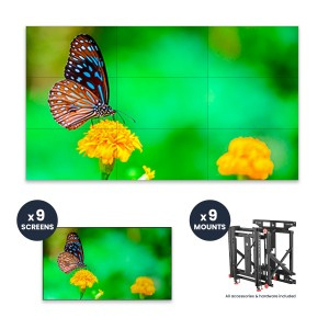 "NEC UN492VS + DS-VW775-QR 3x3 Kit | 49"" Ultra-Narrow Bezel Professional-Grade Display with Peerless Full Service Mount"