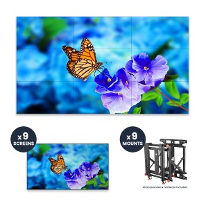 "NEC UN552VS + DS-VW775-QR 3x3 Kit | 55"" Ultra-Narrow Bezel Professional-Grade Display with Peerless Full Service Mount"