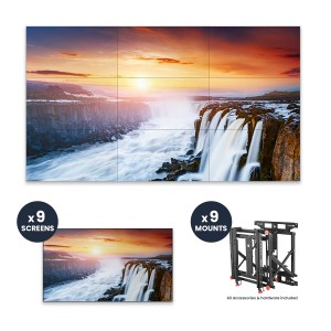 "Samsung VH55R-R + DSVW775-QR 3x3 KIT | 55"" VHR-R Series Ultra-Narrow .88mm BtB 700 nit Videowall Display with Peerless Full Service Mount"