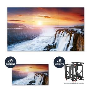 "Samsung VH55R-R + DSVW775-QR 3x3 KIT | 55"" VHR-R Series Ultra-Narrow .88mm BtB 700 nit Videowall Display with Peerless Full Service Mount"