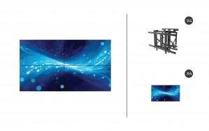 "Samsung UM55H-E + DS-VW775-QR 2x2 Kit   UMH-E Series 55"" Thin Bezel Video Wall Display with Peerless Full Service Mount"