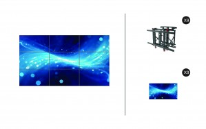 "Samsung UH55F-E + DSVW775-QR 3x3 KIT | UHF-E Series 55"" Premium Video Wall Display with Peerless Full Service Mount"