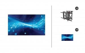 "Samsung UM55H-E + DS-VW775-QR 3x3 Kit | UMH-E Series 55"" Thin Bezel Video Wall Display with Peerless Full Service Mount"