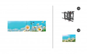 "NEC UN462A + DS-VW775-QR 1x2 Kit | 46"" Ultra-Narrow Bezel Professional-Grade Display with Peerless Full Service Mount"