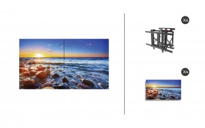 "NEC UN551S + DS-VW775-QR 2x2 Kit | 55"" Ultra-Narrow Bezel UN Series S-IPS Video Wall Display with Peerless Full Service Mount"