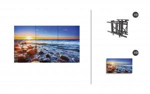 "NEC UN551S + DS-VW775-QR 3x3 Kit | 55"" Ultra-Narrow Bezel UN Series S-IPS Video Wall Display with Peerless Full Service Mount"