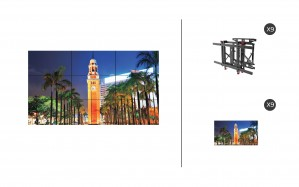"NEC X555UNS + DS-VW775-QR 3x3 Kit | 55"" Ultra Narrow Bezel S-IPS Video Wall Display with Peerless Full Service Mount"