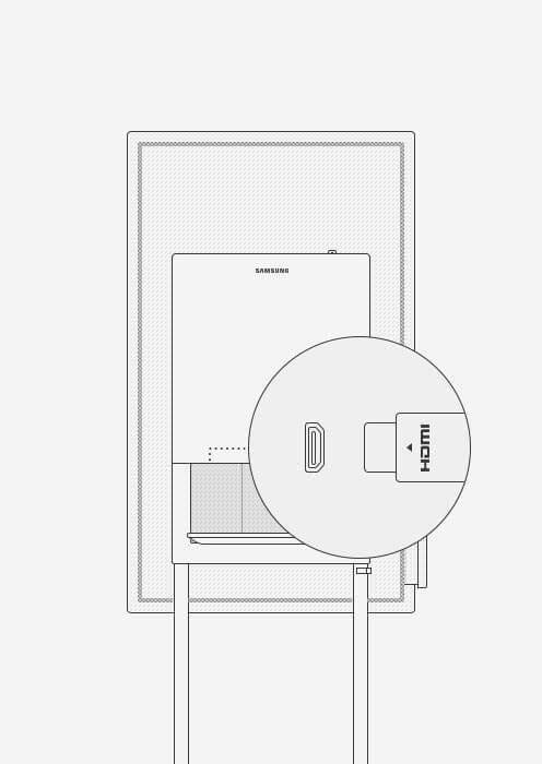 An image showing where the HDMI port is located at the back of a Samsung Flip device.