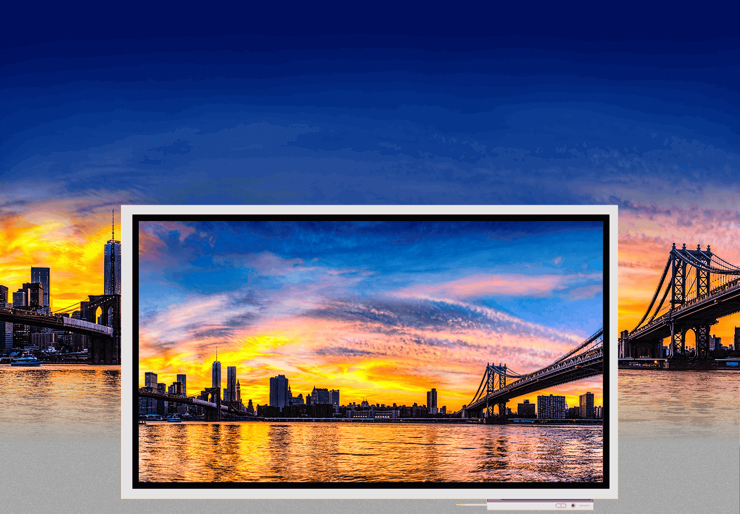 An image showing a city sunset shown on a Samsung Flip device